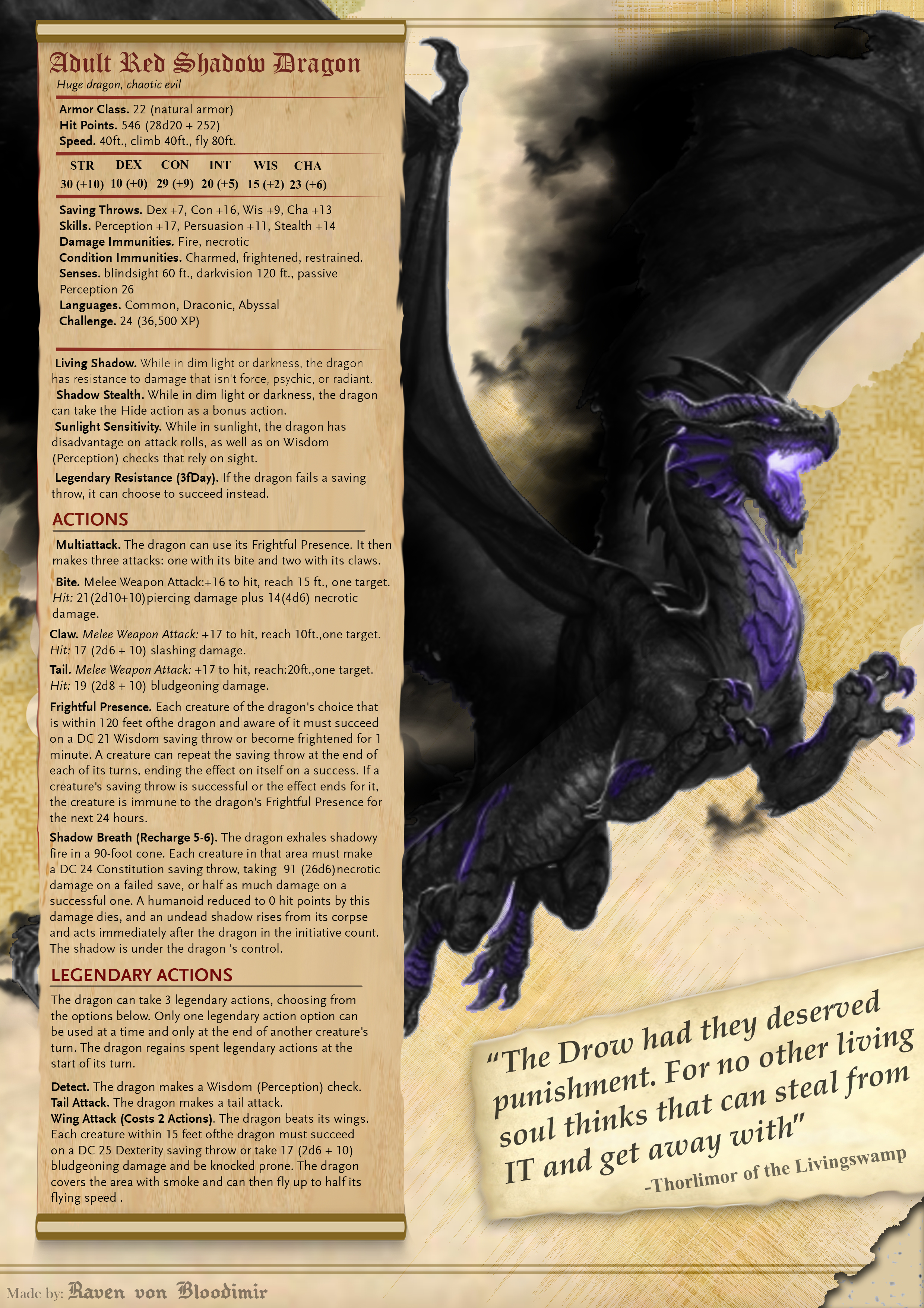 Dnd Red Dragon: Adult Red Shadow Dragon 5E DnD By RavenVonBloodimir On