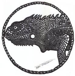 iguana paper cut by ivanutrera