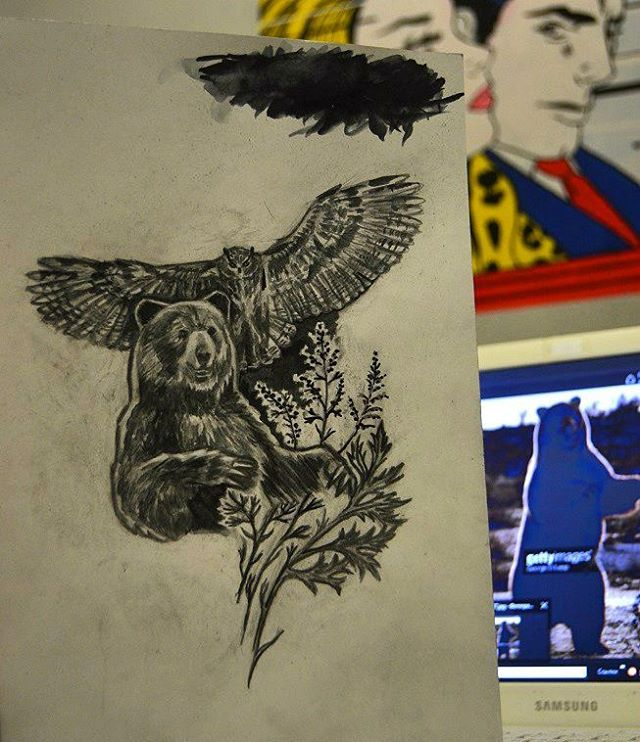 01b1ba130 Bear, owl and wormwood. Tattoo sketch by WladimirBashanov on DeviantArt