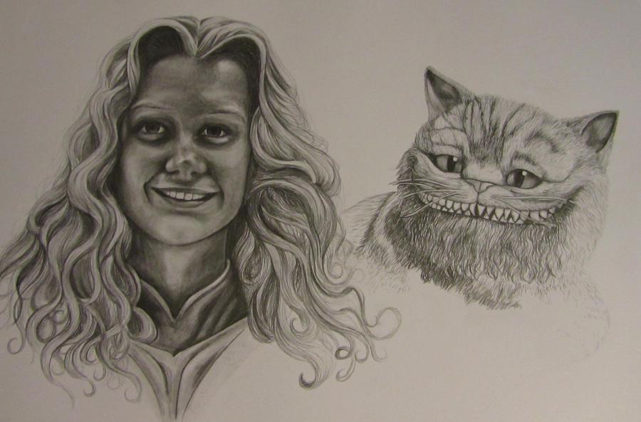 Alice in Wonderland Cat Drawings Alice in Wonderland Drawing by
