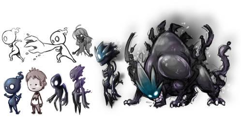 Shadow monsters by YAKUMOFUJII