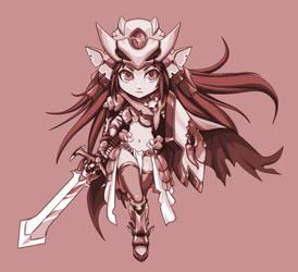 Swordgirl-color-gris by YAKUMOFUJII