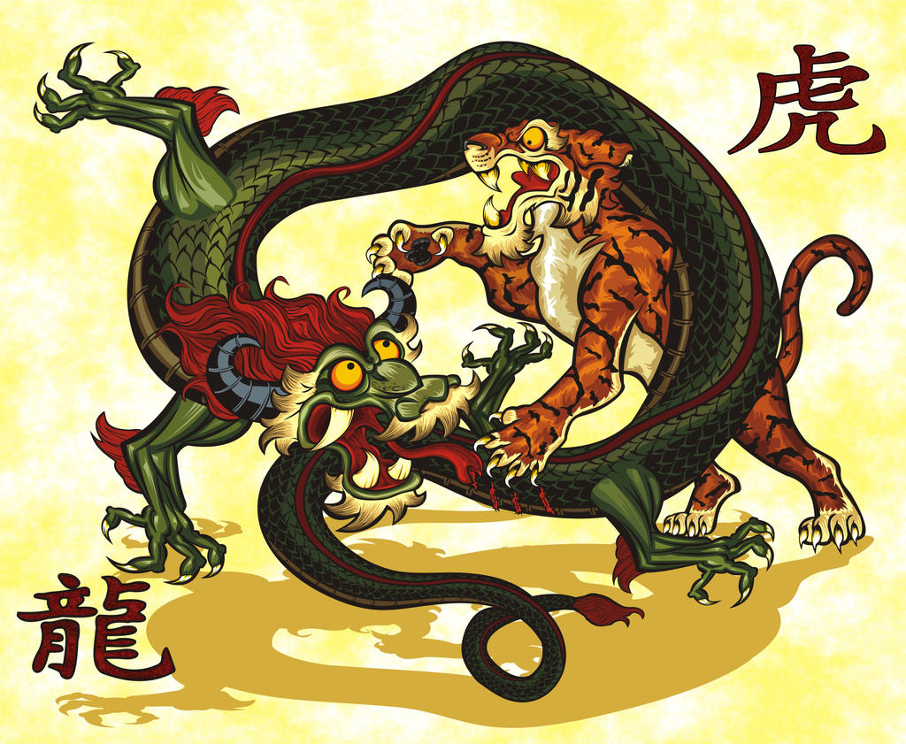 Chinese dragon and tiger drawings