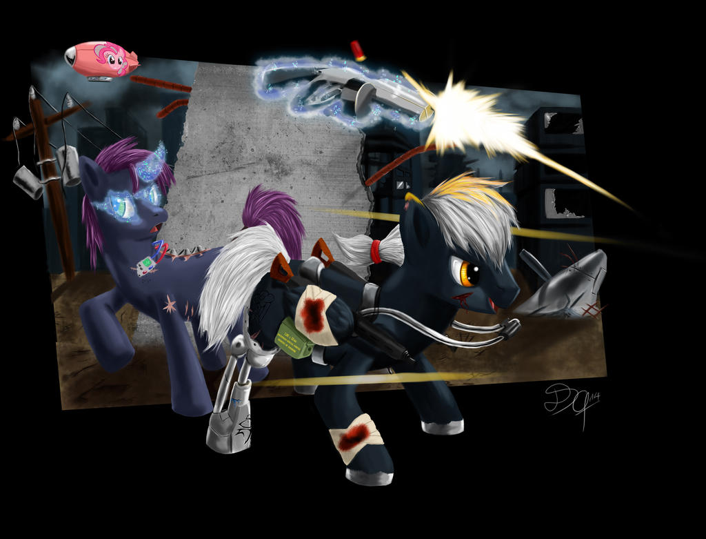 Fallout Equestrians: Morning Star and Shadow Wing by DSC-the-Artist