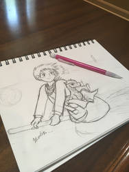 Ghibli Merlin and little Kilgharrah  by JesSketch0