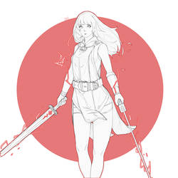 double sword red lightning girl lineart by D-anz