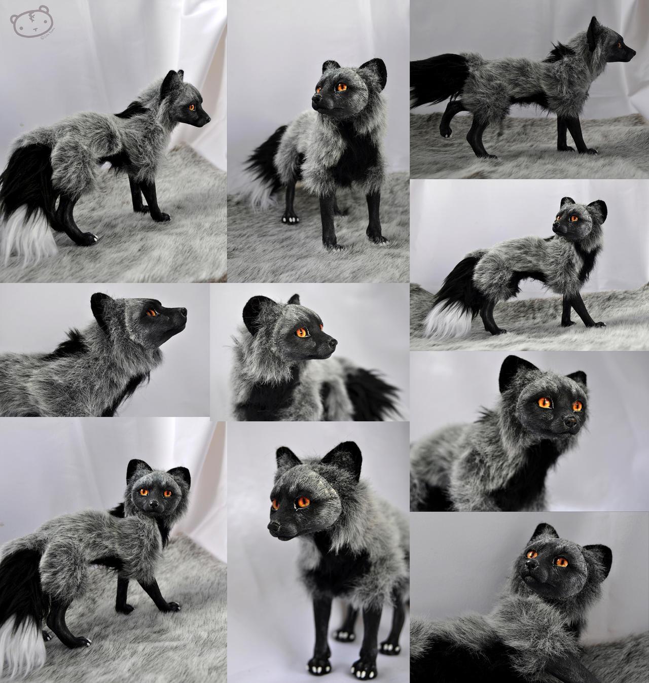Silver fox posable art doll by LisaToms