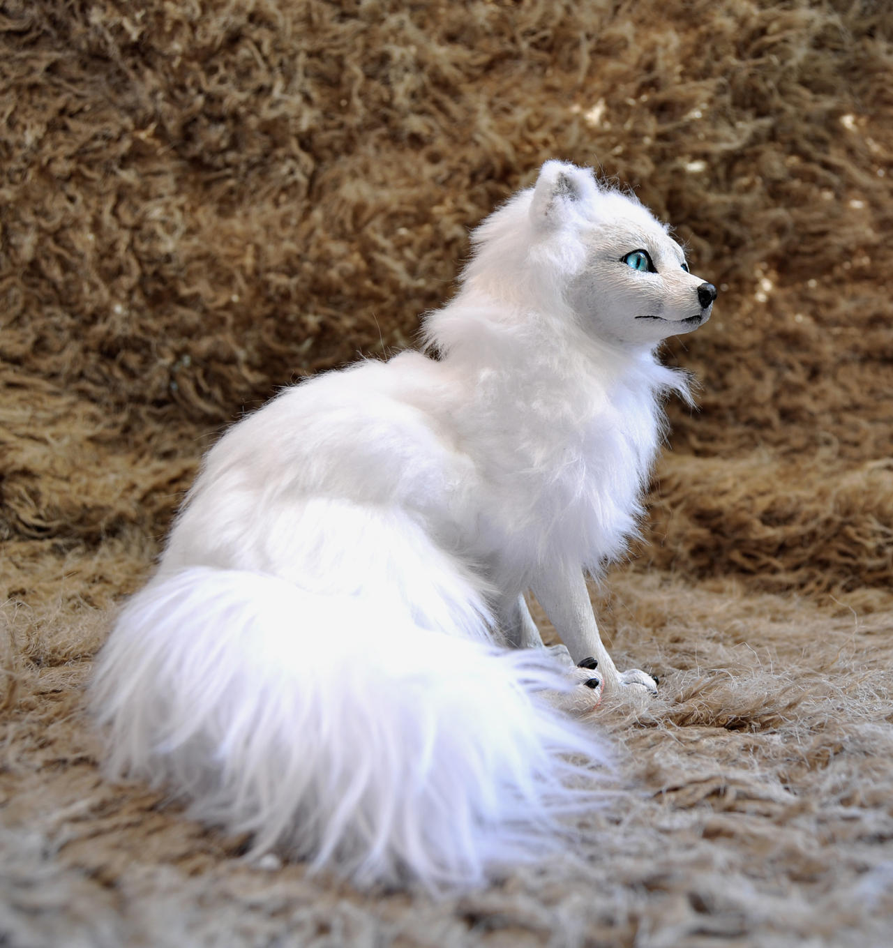 Arctic fox poseable art doll by LisaToms