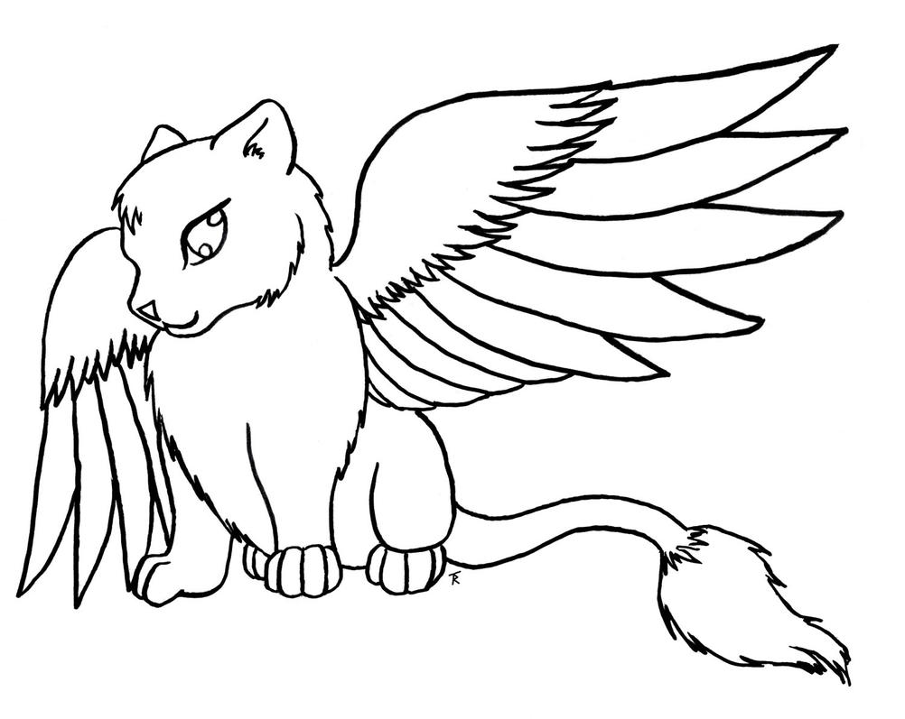 winged cat coloring pages