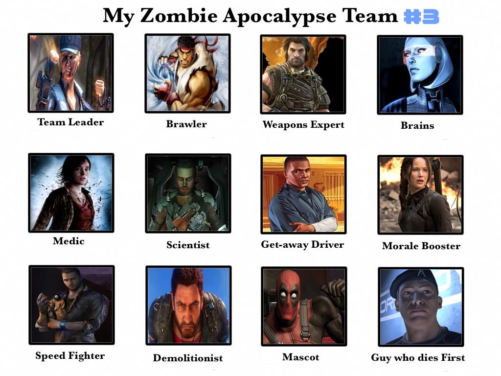My Third Zombie Apocalypse Team by benoski