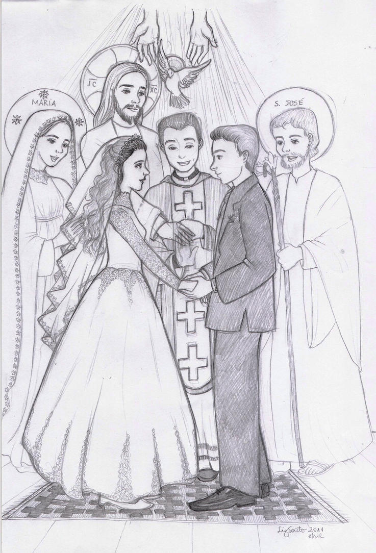 Line Art Wedding : Holy matrimony by artelizdesouza on deviantart