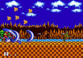 Samus Aran in Sonic 1 and 2 - Green Hill Zone Boss by Mediocre-bat