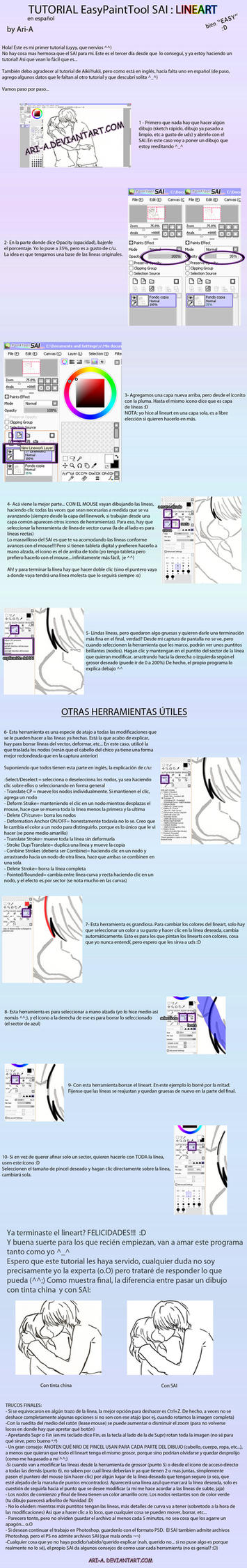 TUTORIAL LINEART SAI - spanish by Ari-A