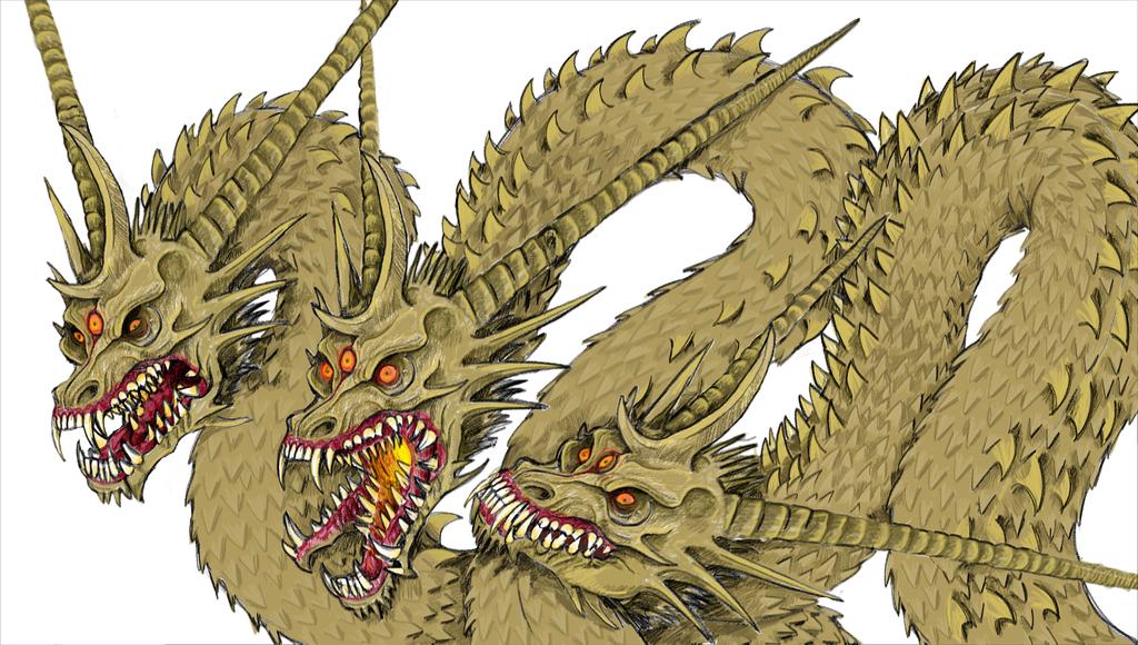 King Ghidorah sketch by redtiger243