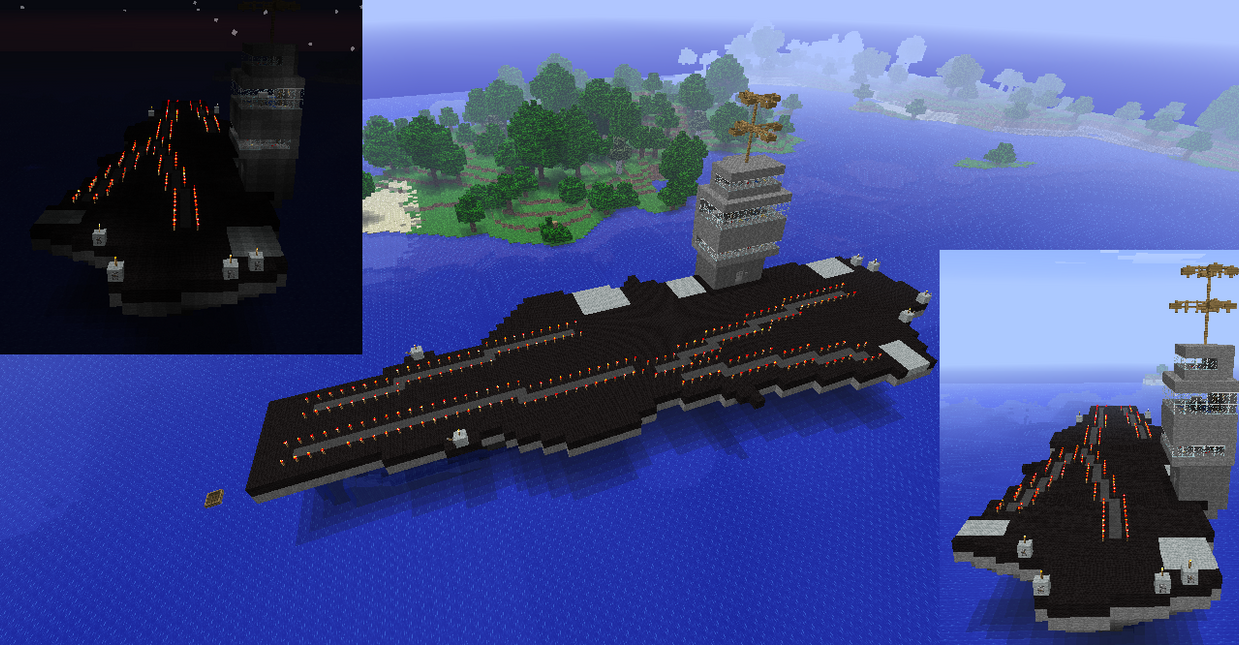 how to build an aircraft carrier in minecraft pe