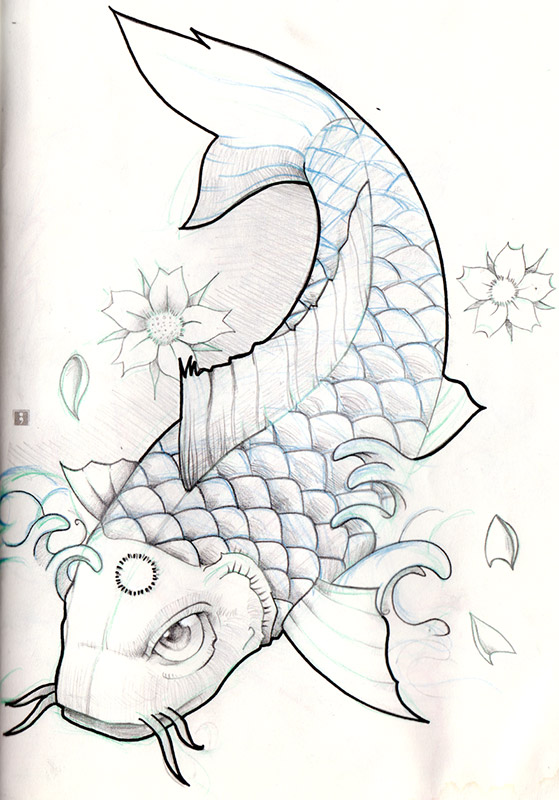 Koi fish pencil sketch by olimueller on deviantart for Koi fish sketch