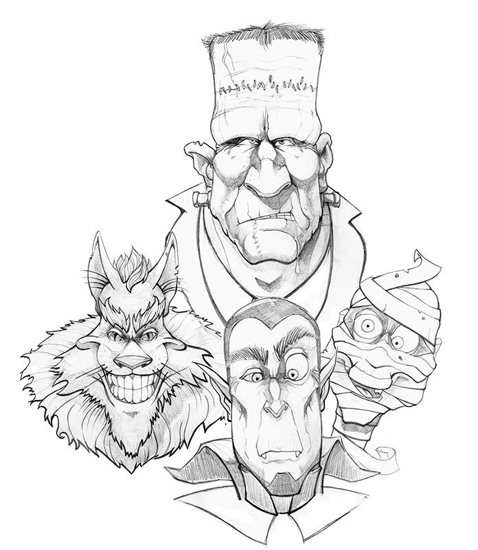 Werwolf Frankenstein Dracula Mummy Olimueller by olimueller