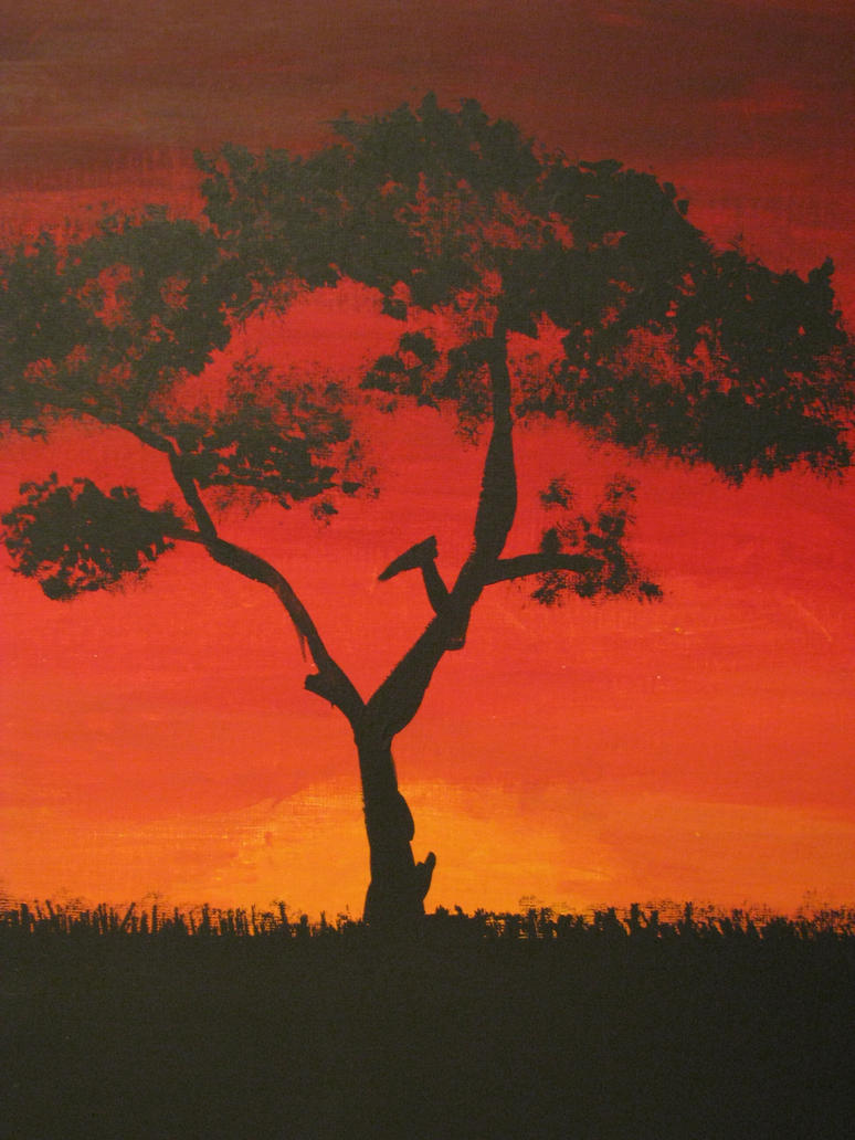 Acacia Tree in Sunset by Captain-Uber-Awesome