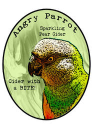 Angry Parrot Cider Bottle Label by TheLaughingVixen