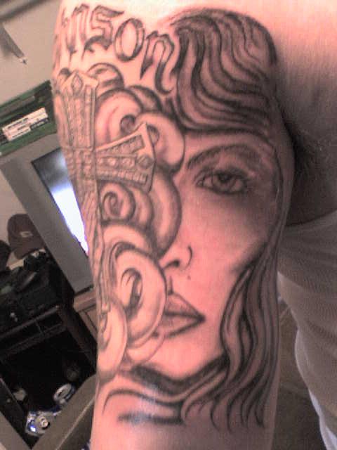 cross tattoo add on. cross tattoo designs bling cross add on front side