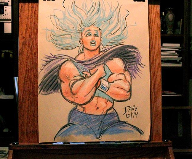 Quadra static hair chalk sketch by LymanDally