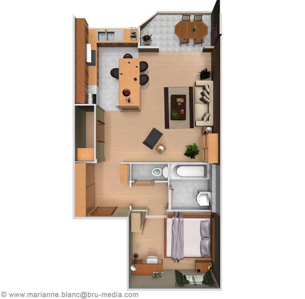 Appartement 3d top view by meryana on deviantart for Appartement en 3d