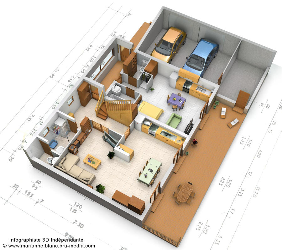 Plan 3d maison rdc by meryana on deviantart for Plan interieur maison en u