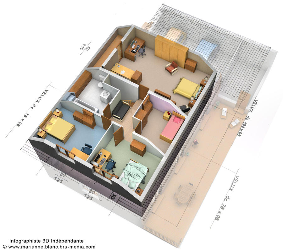 Plan 3d maison etage by meryana on deviantart for Plan 3d