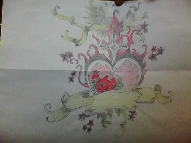 Heart Drawings With Wings And Roses Heart Roses And Wings Color Honey