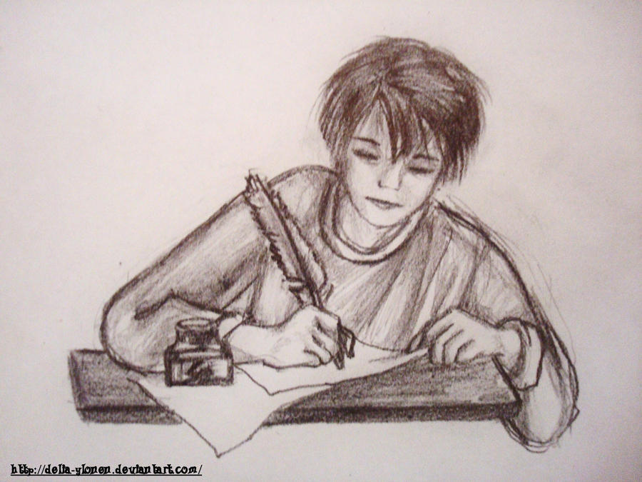 boy writing by deliaylonen on deviantart