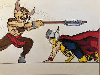 Thor fighting a Minotaur