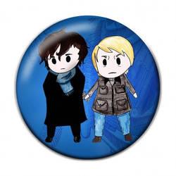 Chibi Anime Sherlock and Watson Button Badge by Cosplayfangear