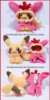 Shiny Pikachu Cosplaying Shiny Female Gyarados
