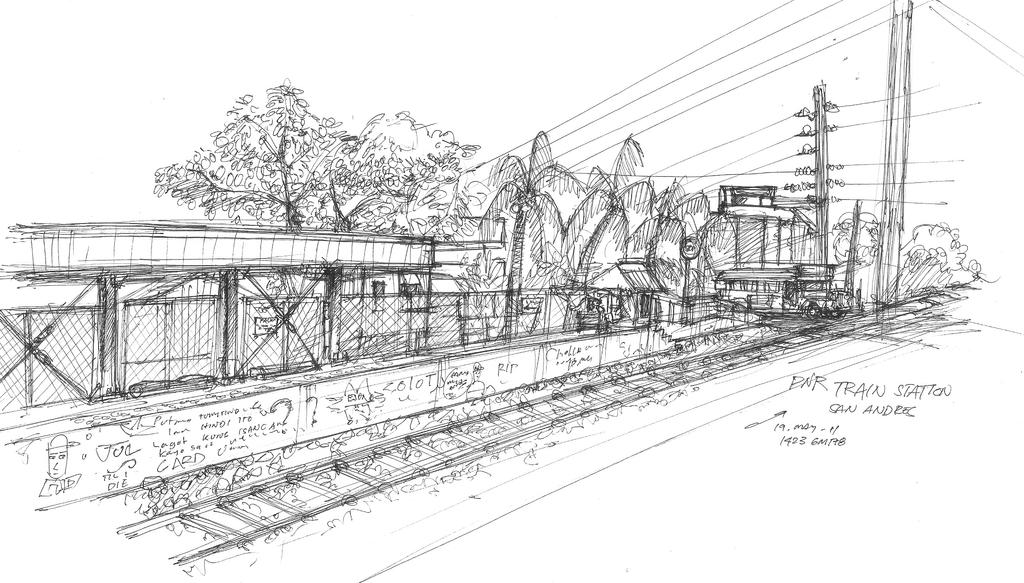 Line Art Train : Train station sketch by contrail on deviantart