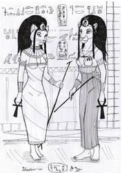 Bastet and Sakhmet by Dungeon-Spirit