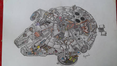 Millenium Falcon Sketch ~ Draw by asganafer