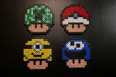 Random Mushrooms #1 - Hama Beads by Nidoran4886