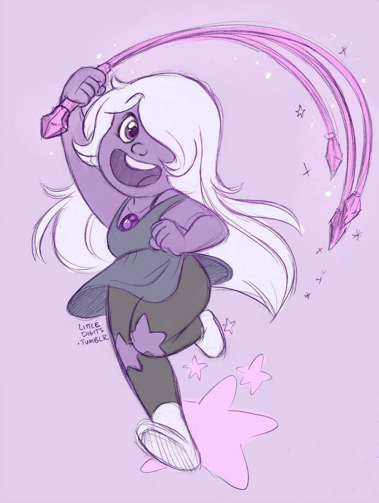 Amethyst from Steven Universe - pretty dang fun to draw , pencil sketch and flat colors on sai . More art on my tumblr littledigits.tumblr.com