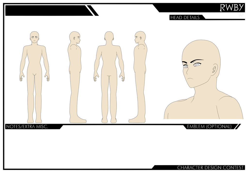 Rwby Character Design Contest : Rwby male character sheet by shadeofgrimm on deviantart
