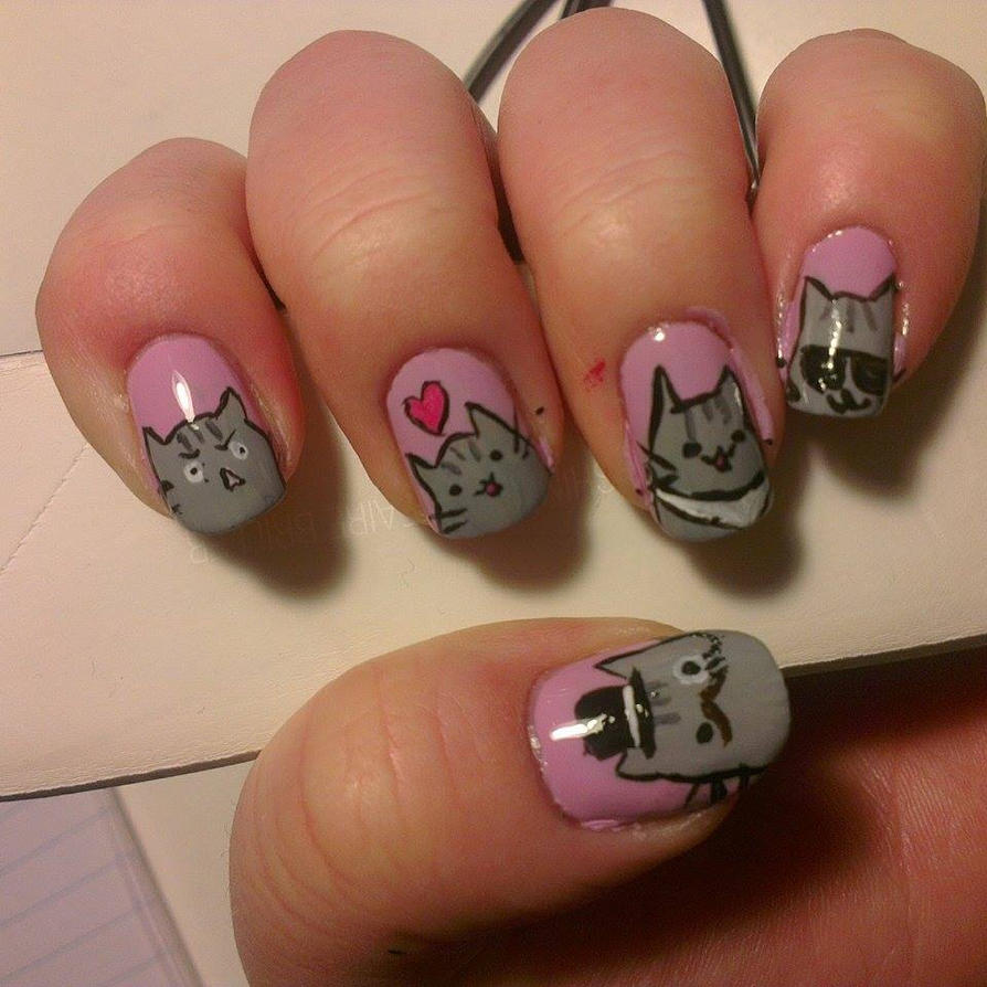 Pusheen cat Nail art (left hand) by MiavW on DeviantArt