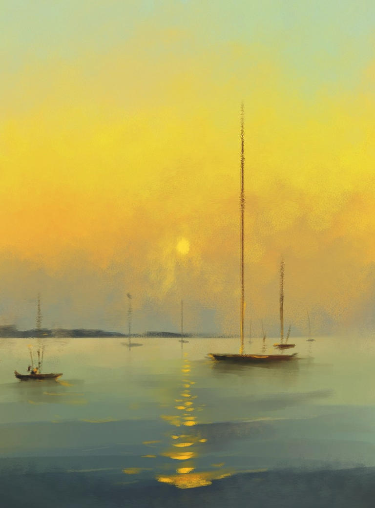 Boats on Fogy Sunset by Loo1Cool