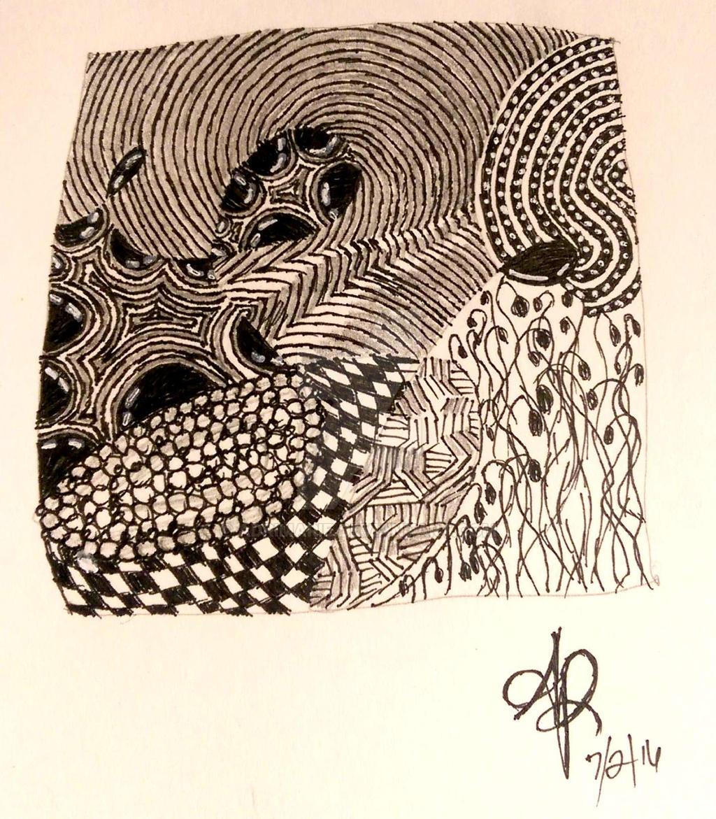 Practice Zentangle Tile by adrimarie