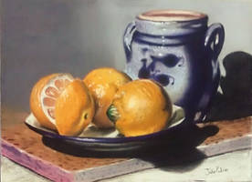 A Painting Of Three Oranges And One Jar