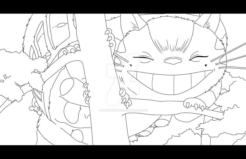 simple printable coloring pages catbus totoro by - Neighbor Totoro Coloring Pages