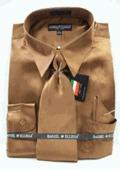 MensNew Cocoa Satin Satin Dress Shirt by mensusasuits