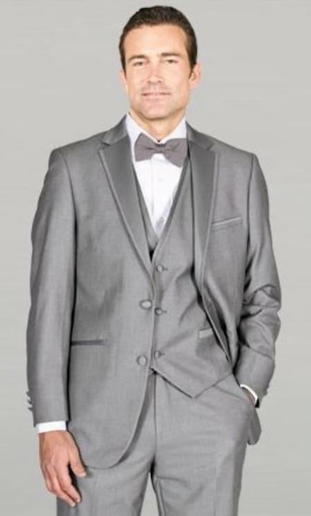 Light Gray Framed Notch Lapel Wedding Tuxedos by mensusasuits