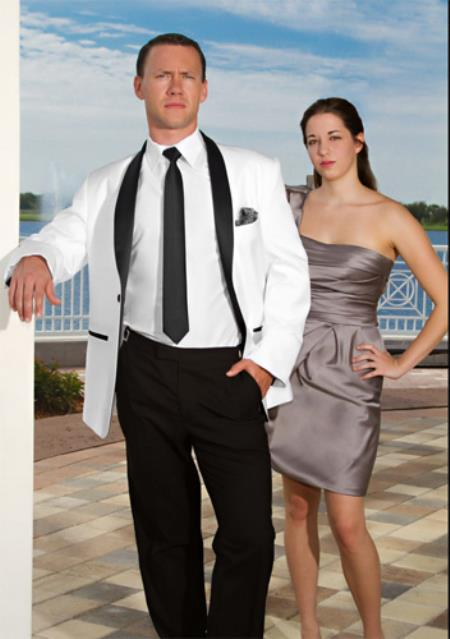 One Button Rock White with Black Lapel Tuxedo by mensusasuits