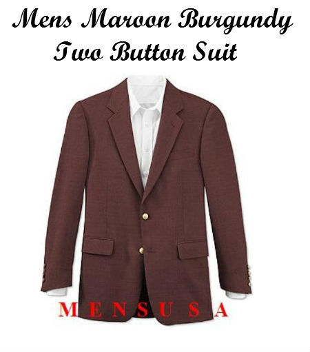Mens Maroon Burgundy Two Button Suit by mensusasuits
