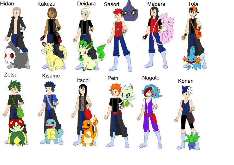 akatsuki pokemon trainers by jeansabaku on deviantart
