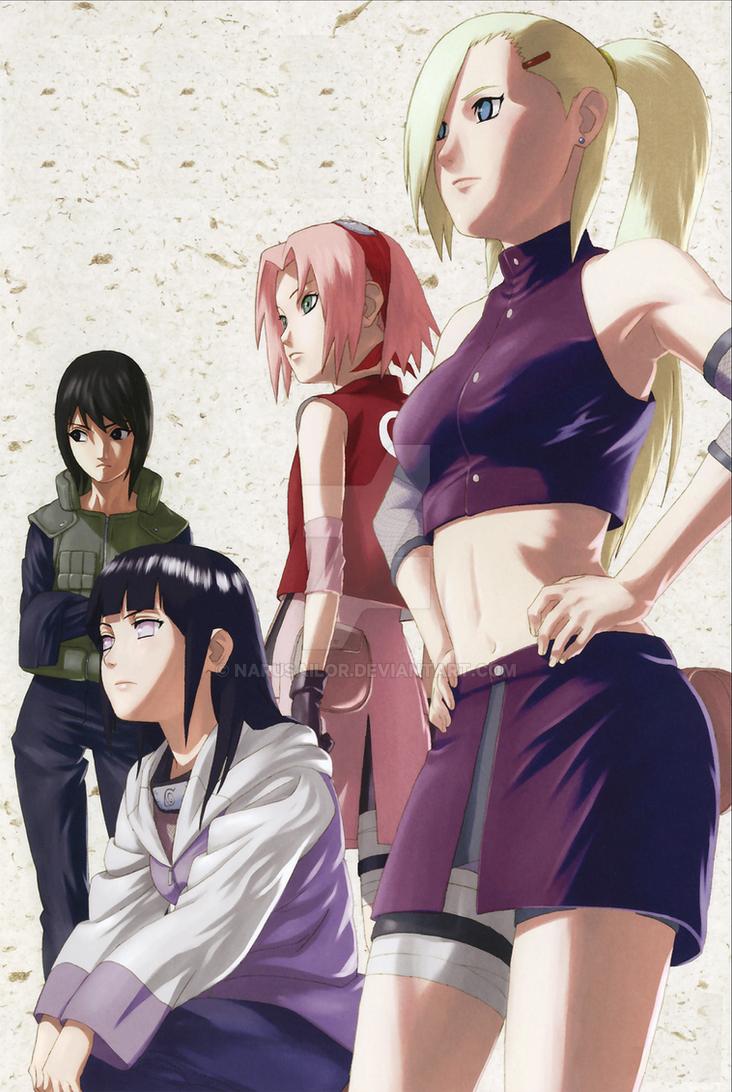Sakura Ino Hinata and Shizune by Narusailor